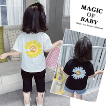 Cartoon Print Baby Boys T Shirt for Summer Kids Boys Girls T-Shirts Clothes Cotton Toddler Tops Toddler Girl Shirts Girls Shirt cheap Casual O-Neck Pullover Short REGULAR Shorts Floral Flowers White Black tong t xu Round Neck Neutral Both Men and Women