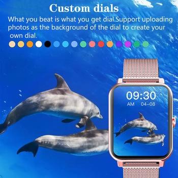 LIGE 2021 New Full Touch Screen Smart Watch Women Sports Heart Rate Waterproof Fitness Smart Watches Women's Smartwatch relogio 6