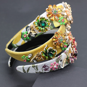 Image 5 - Novo barroco moda luxo strass flor de metal multicolorido com aro cabelo baile mostrar acessórios para cabelo viagem 685