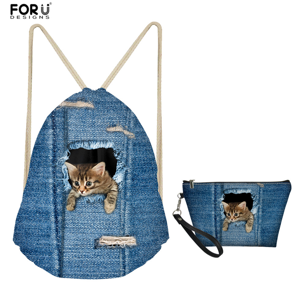 FORUDESIGNS Beach Drawstring Backpack Toiletry Travel Bag Blue Denim Pocket Cat Pattern Cosmetic Make Up Bag For Girls 2 Piece