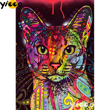 Full Square/Round drill diamond Painting Colorful cat 5D DIY diamond embroidery mosaic Decoration painting AX0110 full square round drill diamond painting sweet love 5d diy diamond embroidery mosaic decoration painting ax0110