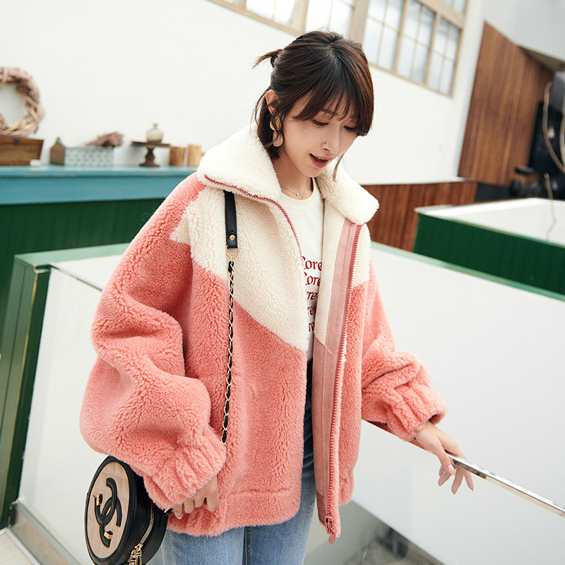 Autumn Winter Coat Women Clothes 2020 Korean Vintage Wool Jacket Streetwear Loose Sheep Shearling Fur Tops Suede Lining KQN59375