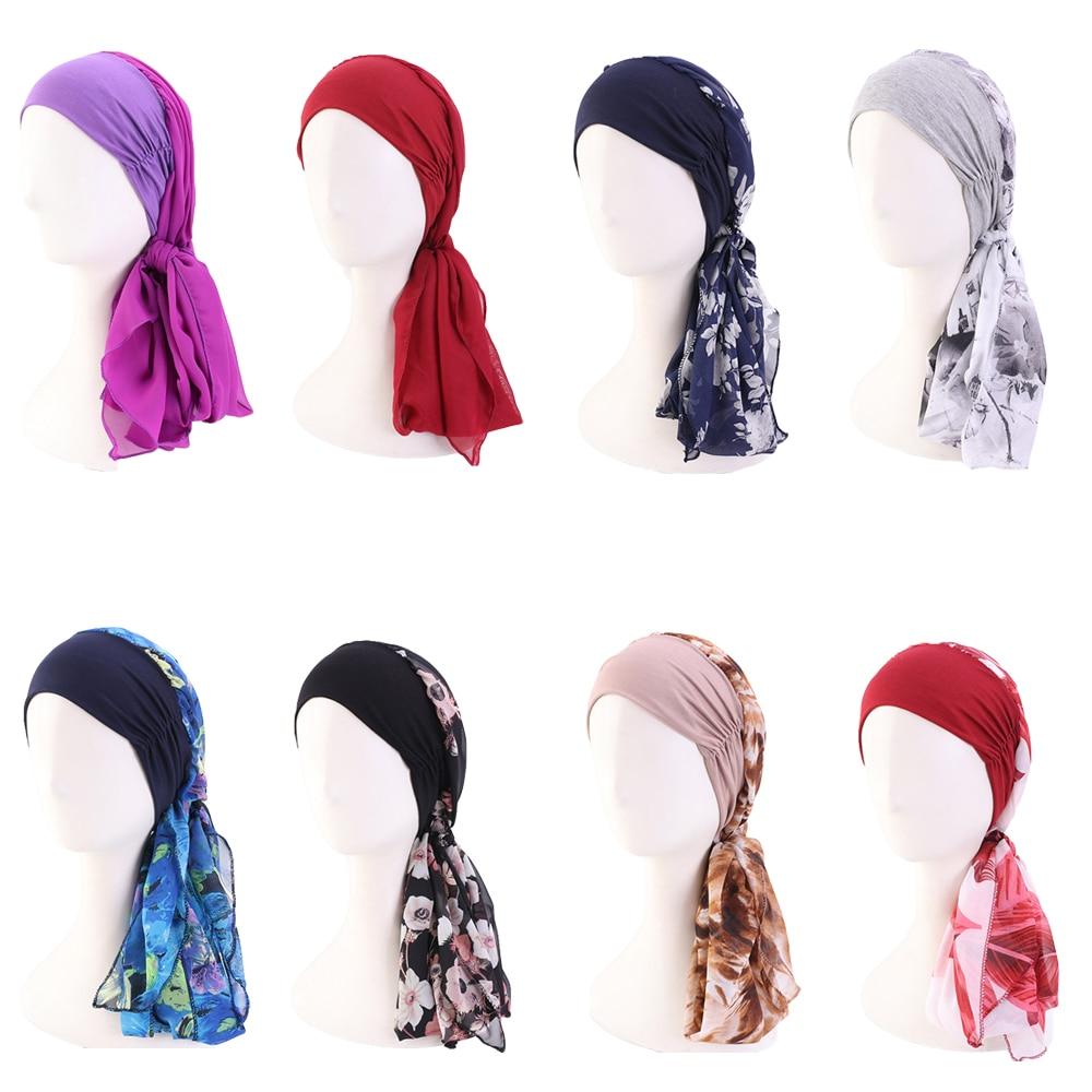 12 видов цветов, модные мусульманские женские головные уборы Hijabs, шапка-тюрбан, Шапка-бини, женские аксессуары для волос, мусульманский шарф, ...