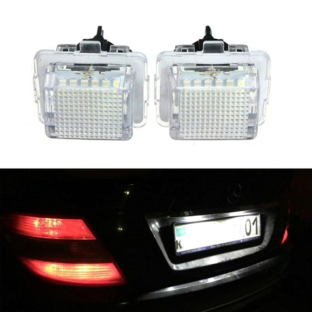 2Pcs Left+Right Error Free LED License Number Plate <font><b>Light</b></font> Lamp For Mercedes <font><b>Benz</b></font> C-Class W204 S204 W212 S212 C207 C216 <font><b>W221</b></font> image