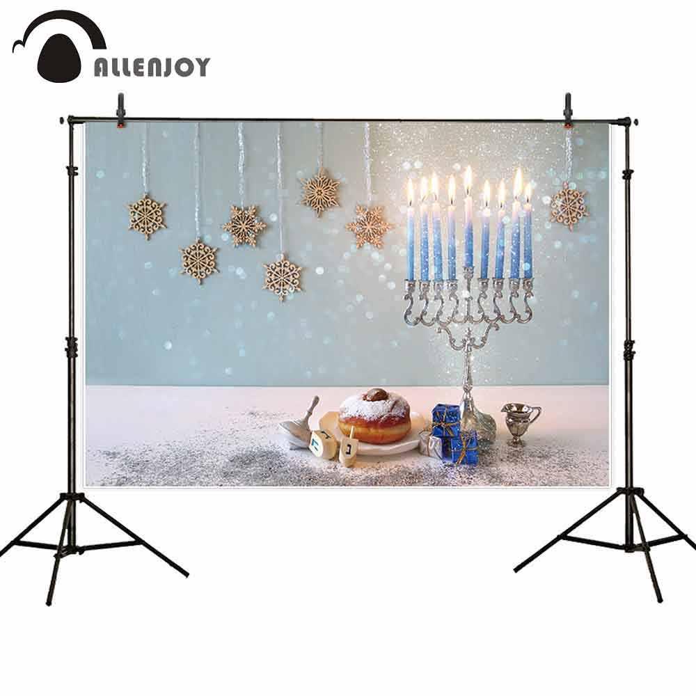 Allenjoy fotoğraf backdrop yahudi tatil Hanukkah menorah mumluk çörek ahşap dreidel glitter aile arka plan photophone