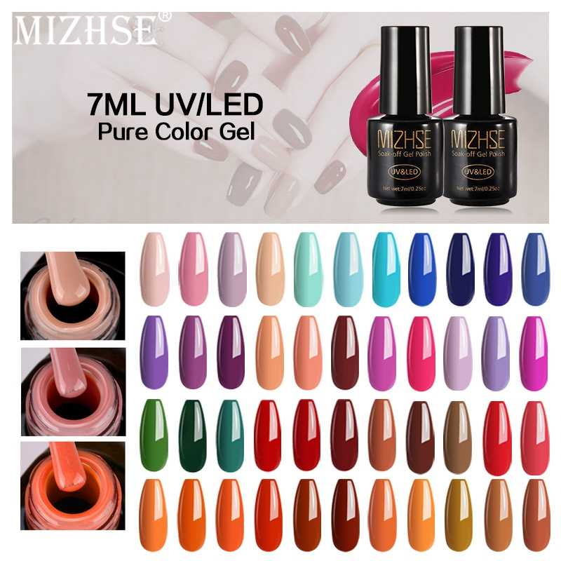 Mizhse 7 Ml Warna Gel Cat Kuku Kuku Gel Polandia Seni Seri Warna UV LED Akrilik untuk Gel Varnish Gelpolish shilak Semi Permanen