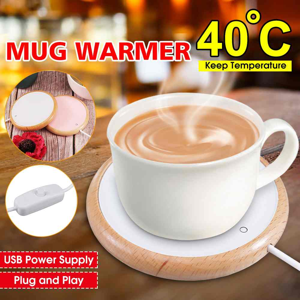 Upgrade USB Heating Coaster Wood Grain Cup Warmer Heat Placemat Electric Thermostat Beverage Mug Mat Keep Drink Warm Heaters