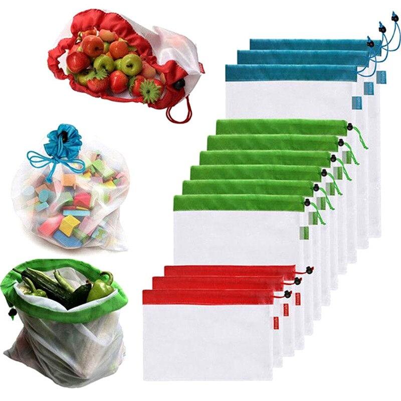 12 piezas reutilizables bolsas de malla de bolsas de compras lavable Eco bolsa de almacenamiento vegetal de la fruta Juguetes Artículos organizador bolsa de almacenamiento
