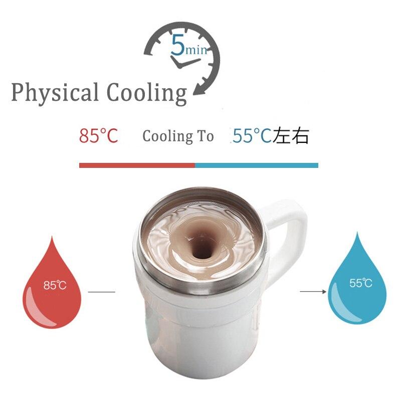 BAISPO кружка из нержавеющей стали с автоматическим перемешиванием, Термокружка с магнитным нагревом, чашка для смешивания кофе, молока, батарея не требуется - 3