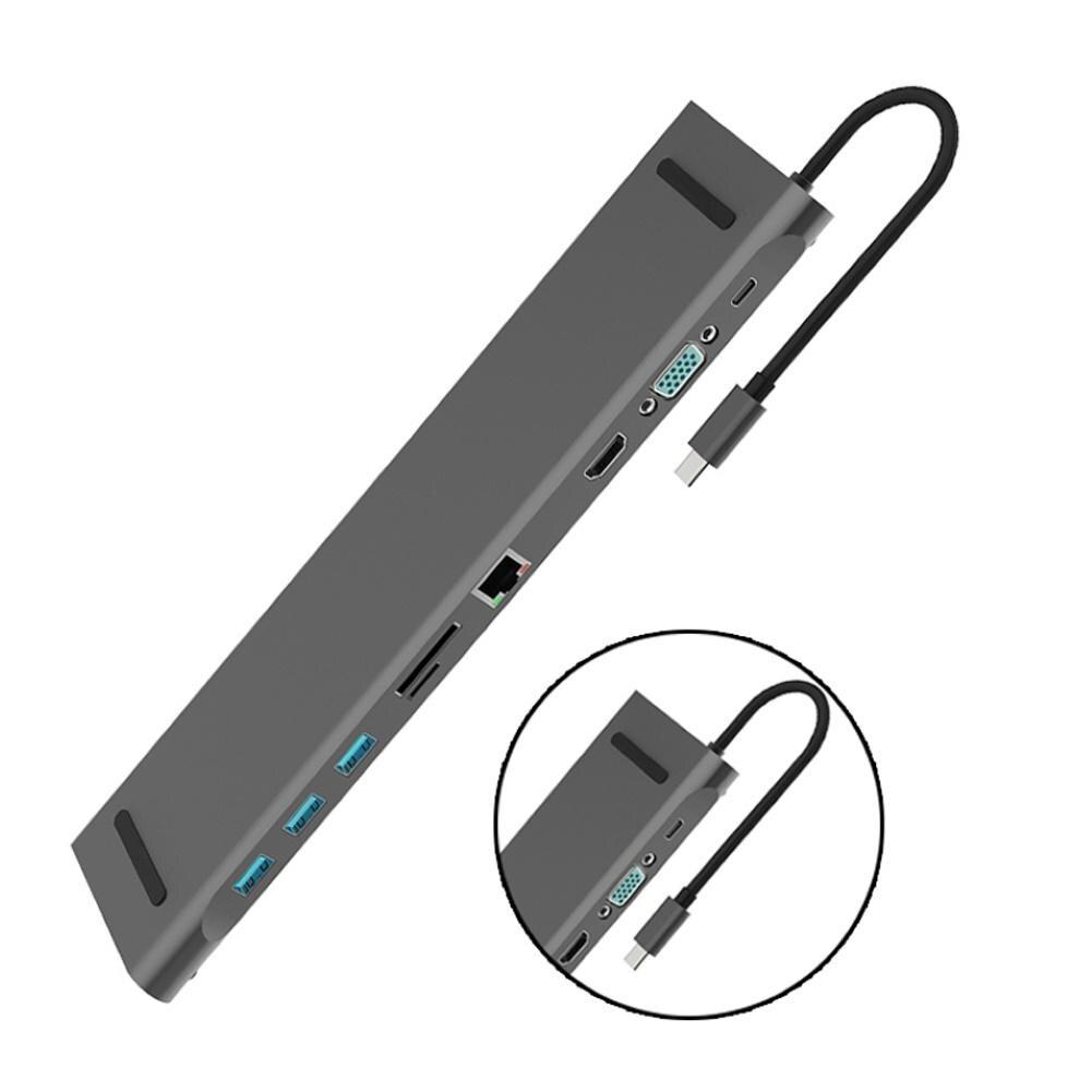 10 in 1 Laptop Docking Stations Type-C to 4K RJ45 USB 3.0 VGA 3.5mm Audio Port Hub Adapter Dock 4K for 1080P for VGA