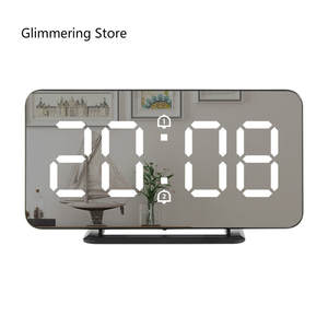 Alarm-Clock Usb-Charger Desk Snooze-Display Led-Table Time Digital Night for Androd-Phone