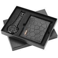 Men's Watches and Wallet Set Leather Strap Quartz Wristwatch Leather Wallet Credit Card Holder for Boyfriend Husband