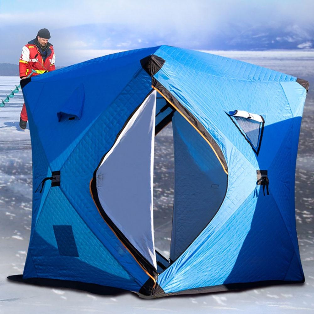 Большое пространство, для 3 4 человек, быстро открывающийся, толкающий, плюс хлопок, теплый, для улицы, зимний, для подледной рыбалки, утолщенная палатка, палатка для кемпинга, рыболовная палатка - 4