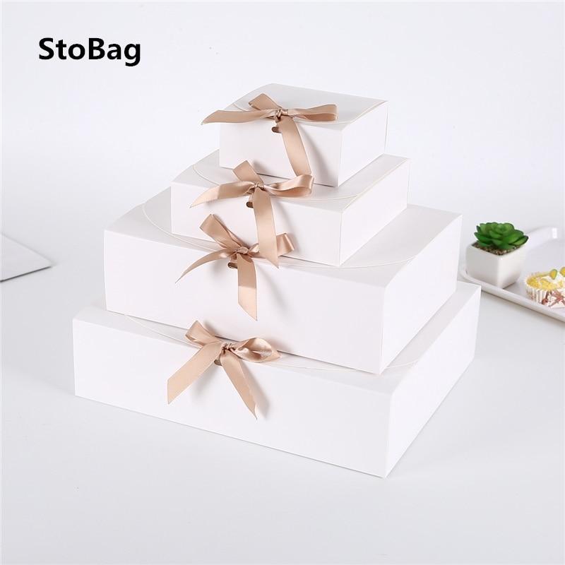 StoBag 5 stücke Weiß/Kraft/Schwarz Geschenk Box Event & Party Supplies Verpackung Hochzeit Geburtstag Hnadmade Candy Schokolade