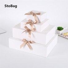 StoBag 5 sztuk biały/Kraft/czarny pudełko Event & Party Supplies opakowanie ślub urodziny Hnadmade cukierki czekoladowe