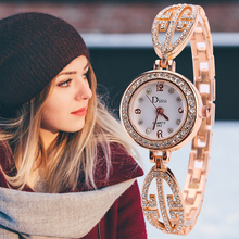 Womens Rhinestone Quartz Watch Rose Gold And Silver Top Brand Small Wrists Ladie