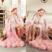 Pink Fur Bathrobe Sleepwear Bathrobe Boudoir Dress Lace A Line Kimono Dressing Gown Babydoll Sexy Lingerie Bath Robes De Mariée
