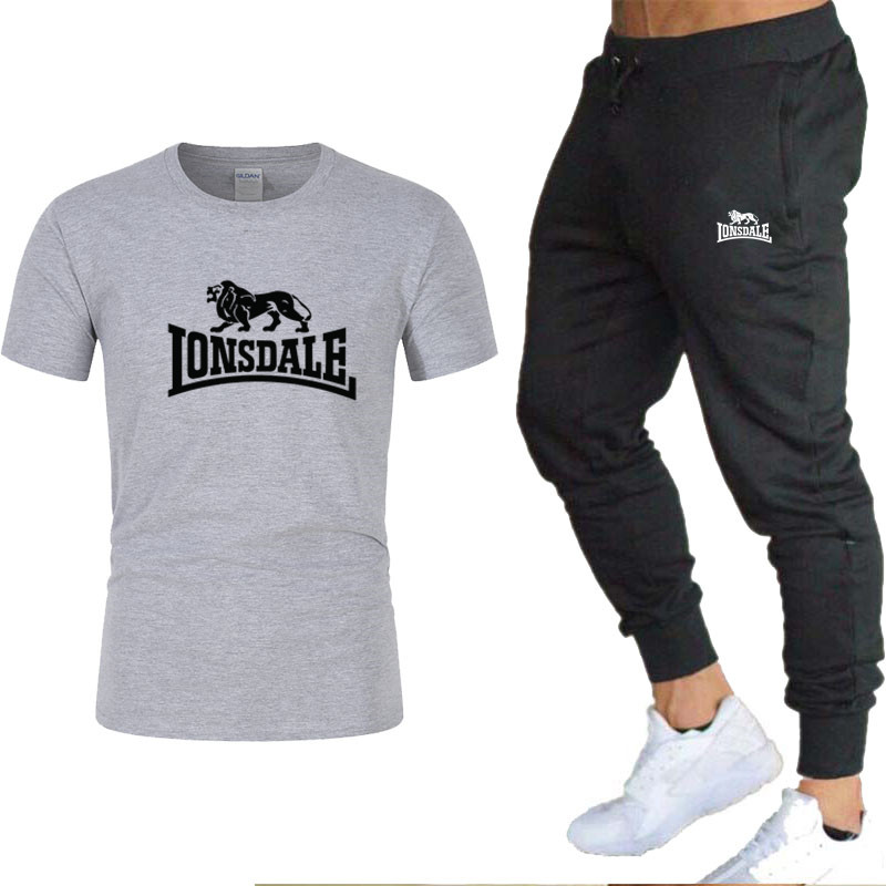 2020 NEW Men T-shirt +Pant Two-pieces Sets Casual Suits Joggers Brand Male Trousers Casual T-shirts Sportswear Set