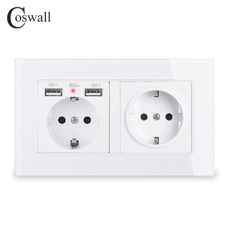 COSWALL Brand 2 Gang Russia Spain EU Standard Wall Socket With 2 USB Charge Port Hidden Soft LED Indicator Crystal Glass Panel()