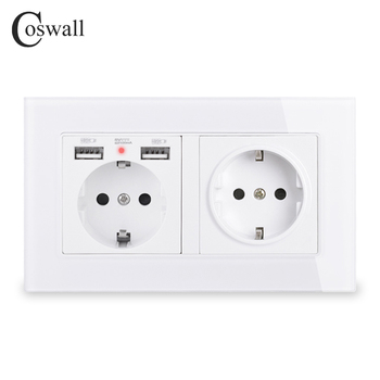 COSWALL Brand 2 Gang Russia Spain EU Standard Wall Socket With USB Charge Port Hidden Soft LED Indicator Crystal Glass Panel - discount item  40% OFF Electrical Equipment & Supplies