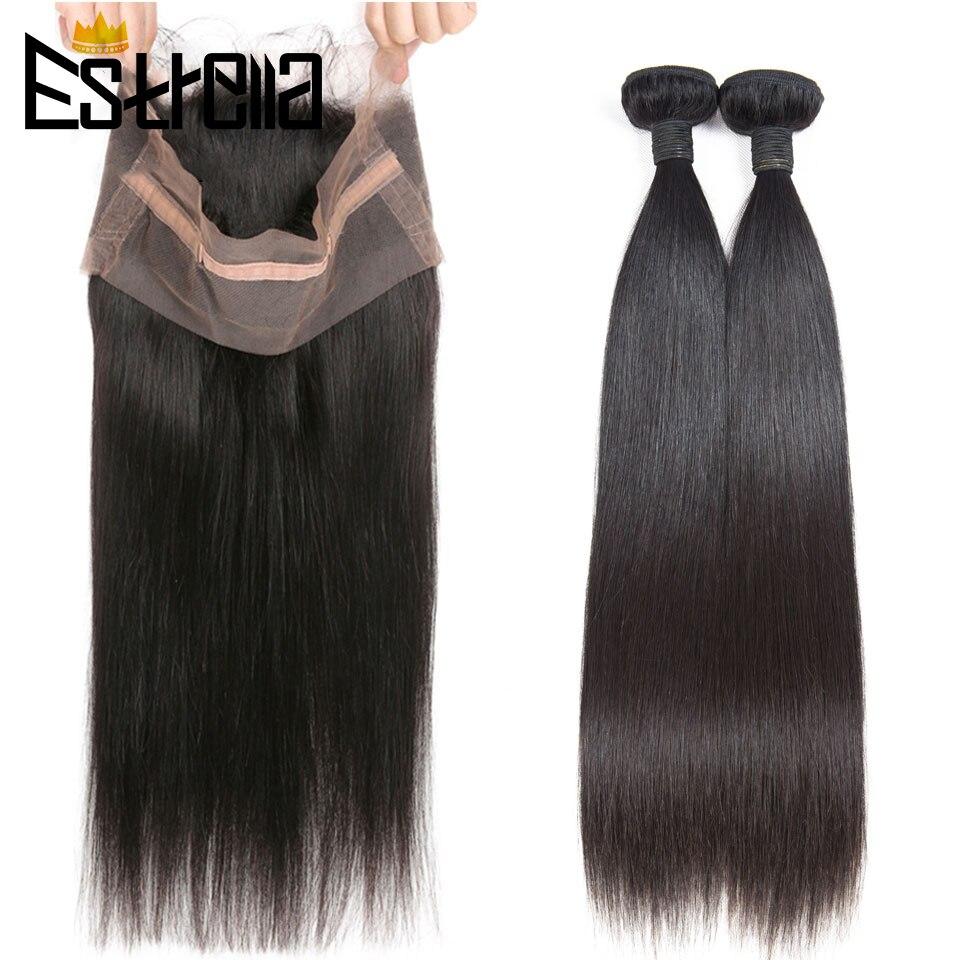 ESTRELLA peruano 360 Frontal de encaje con mechones recto mechones de cabello humano postizo mechones con cierre Remy extensión del pelo con Frontal