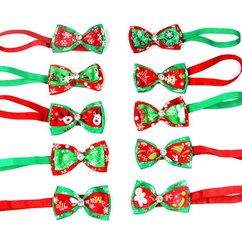 Christmas Adjustable Cat Dog Collar Holiday Cats Dog Bow Tie Pet Neck Strap Cat Dog Grooming Accessories Puppy Cat Necklace image