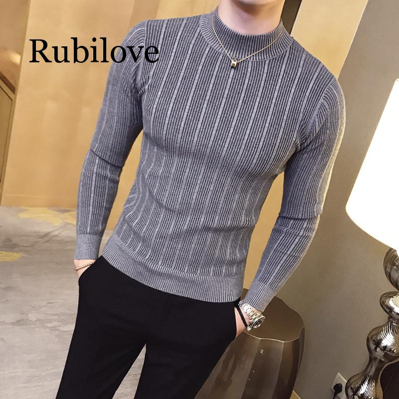 Pullover Men's Sweater 2019 Casual Striped Solid Color Sweater Men's Half-high Collar Stretch Tight Sweater Slim Knit Top