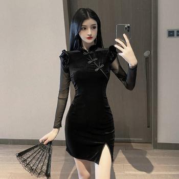 Kobiety w stylu chińskim Retro sukienka Cheongsam Qipao Split Mini sukienka Sexy suknie wieczorowe klub nocny Bodycon elegancka moda tradycyjna Qipao tanie i dobre opinie COTTON Poliester CN (pochodzenie) Suknem