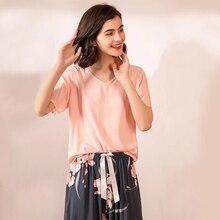 Julys song conjunto de pijama feminino, 2 peças, roupa de dormir estampada floral, com decote em v, manga curta, cintura elástica
