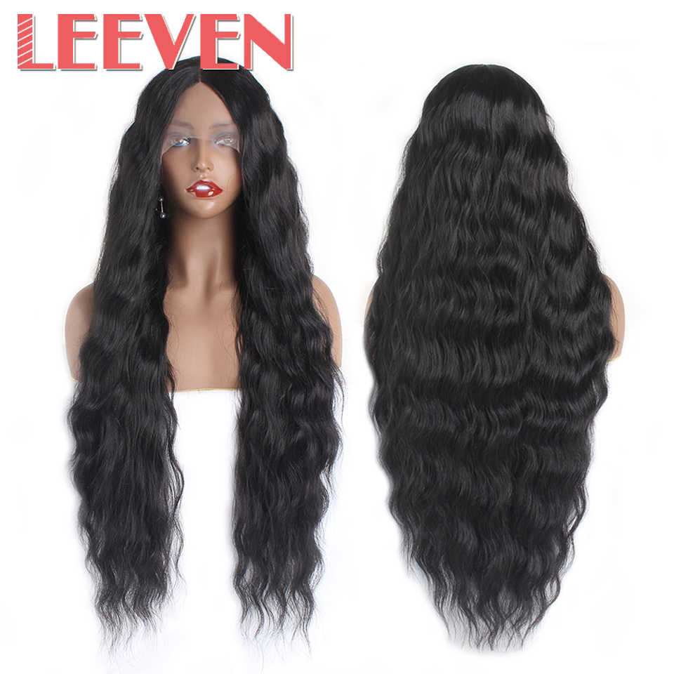 Leeven Deep Wave Black 613 Blonde Lace Front Wig Synthetic Wigs For Women Middle Part Brown Burgendy Long Hair peruka
