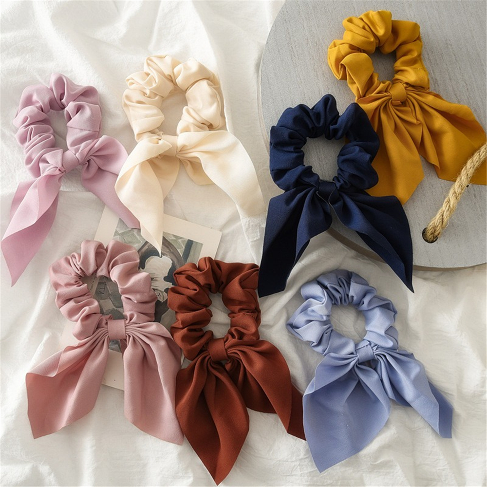 New Fashion Solid Color Hair Scrunchies For Women Grils Chiffon Bows Ponytail Holder Hairbands Hair Rubber Bands Hair Accessories