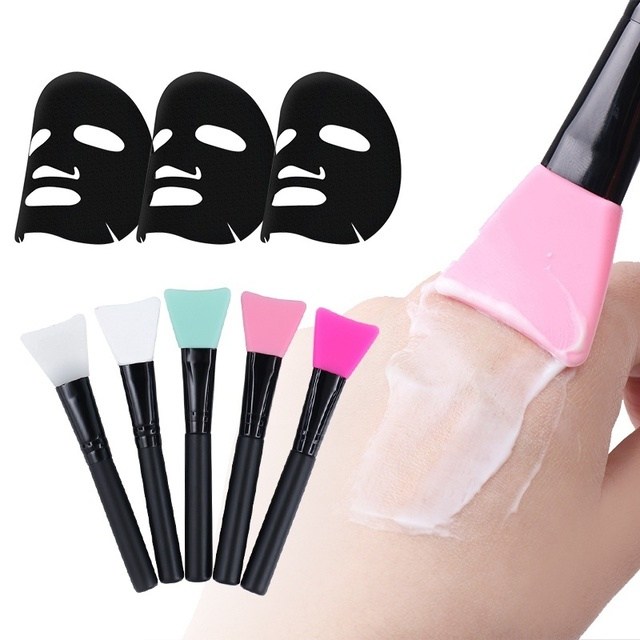 Women Fashion 1pc Silicone Facial Face Mask Brush Mask Mud Mixing Brush Tool 5 Color Soft Women Skin Face Care tool 1