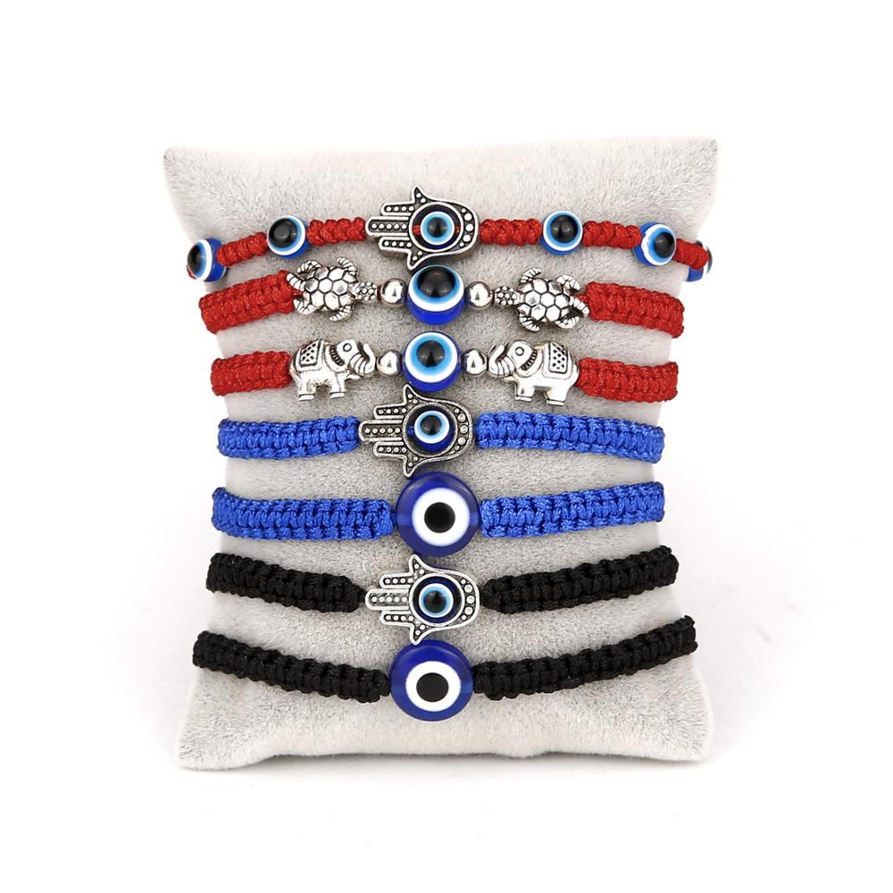 Турецкие синие браслеты от сглаза для женщин и мужчин, ручной слон, черепаха, очаровательные красные, черные веревочные цепочки, браслет, му...
