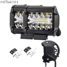 LED Bar Light 4 Inch 60w 12000lm Driving Fog Off Road Lights Triple Row Waterproof Spot Flood Combo Beam Cubes
