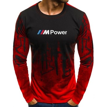 MenS T-Shirt Autumn Lycra Cotton Motorsport for BMW M Power Print T Shirts Men Camouflage Casual Mens Long Sleeve Tshirt Male