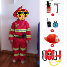 Fireman Outfits Firefighter with Toys Set Kids Boys Gift Cosplay Costume Halloween Role Play Sam Work Wear Uniform Water Gun