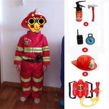 Bombeiro outfits bombeiro com brinquedos conjunto crianças meninos presente cosplay traje halloween role play sam trabalho vestir uniforme pistola de água