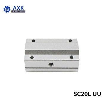 4pcs/lot SC20LUU SCS20LUU 20mm long type Linear Ball Bearing Block CNC Router with LM20LUU Bush Pillow Block Linear Shaft CNC 3D