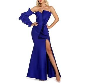 Maxi Dress Elegant Fashion Sexy Bodycon Celebrity Blue Banquet Evening Party Dress Long Dress