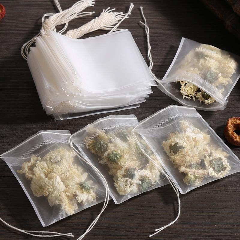 100 sacos de filtro descartáveis dos sacos de chá dos pces para o infuser do chá com a corda cura o selo, teabags não tecidos da especiaria da tela do produto comestível
