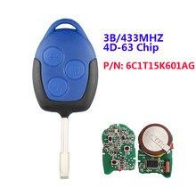 Xnrkey oem 433mhz 4D63チップp/n: 6C1T15K601AG 3ボタンリモート車のキー用wm vmと黒刃FO21