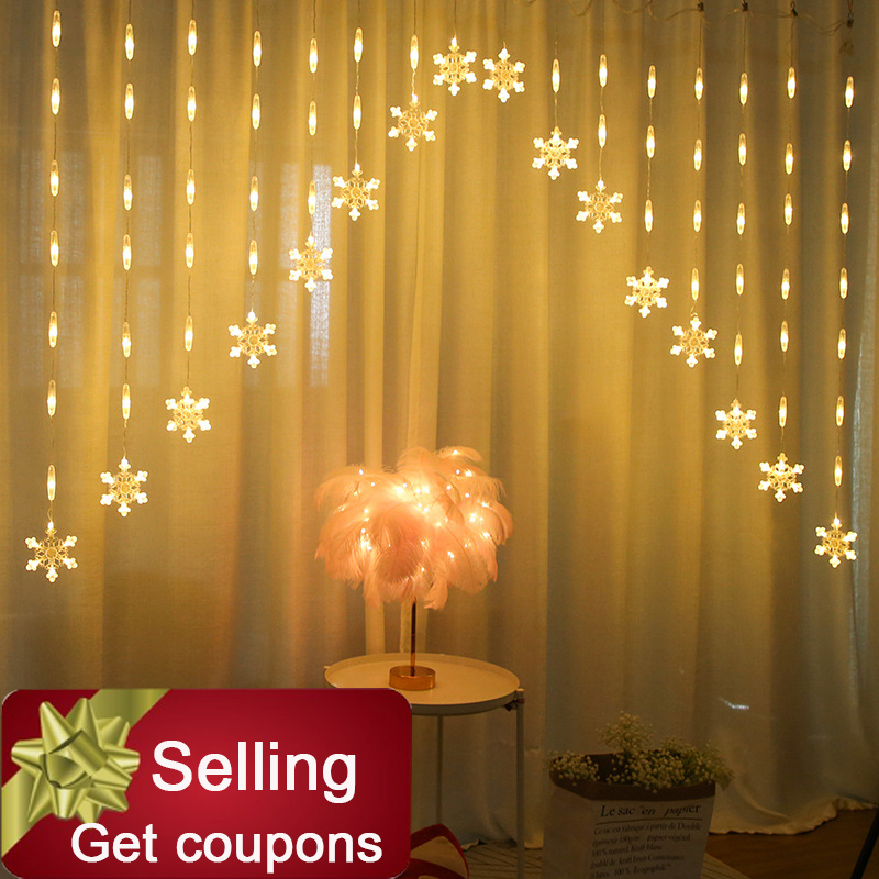 Colorful Snowflake Curtain LED Fairy String Lights Garland Christmas Decoration For Holiday Lighting Wedding Party Decorative