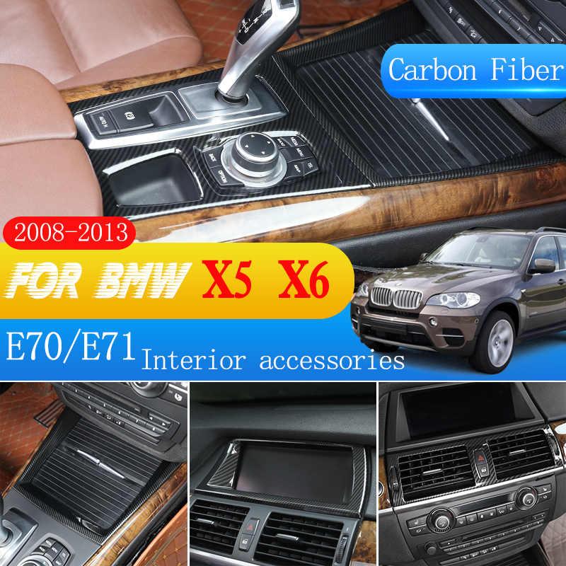 2pcs Panel de Control de Cubierta de Fibra de Carbono Decoraci/ón para BMW e70 e71 X5 X6 2008-2013,