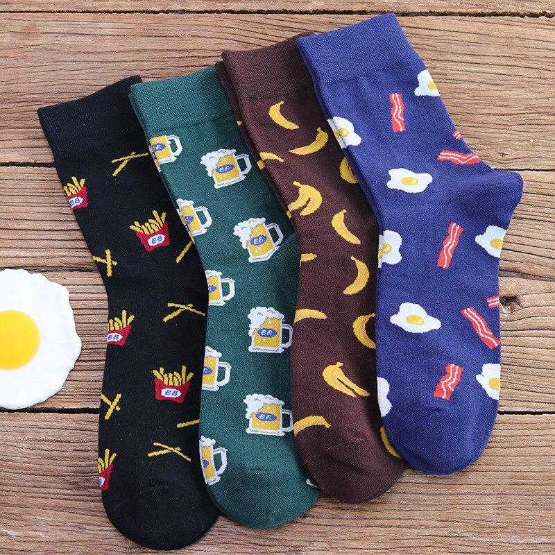 French Fries Omelette Banana Beer Pattern Crazy Cotton Funny Women Men's Casual Crew Dress Socks Cool Unisex Novelty Funny Socks