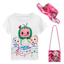 Baby Cocomelon Songs T Shirt Skirt 2 Pcs Sets Kids Cartoon TShirt Dress Small Bag Sunhat Girls Clothing Children Summer Clothes