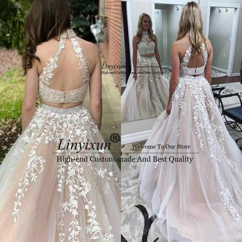 Gorgeous Long Appliques Lace Tulle   Prom     Dresses   Backless Formal Party Wear 2020 Sweet Girl 16 Two Piece Evening   Dress