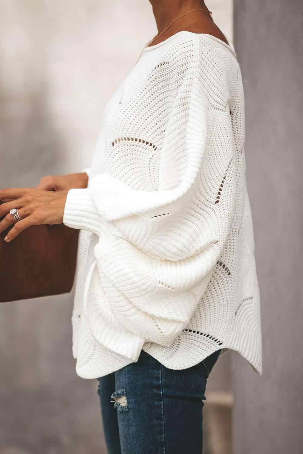 Echoine Gray/White/Black Wave Hem Long Batwing Sleeve Hollow Out Elegant Casual Sweater Top Women Autumn Winter Loose Sweater