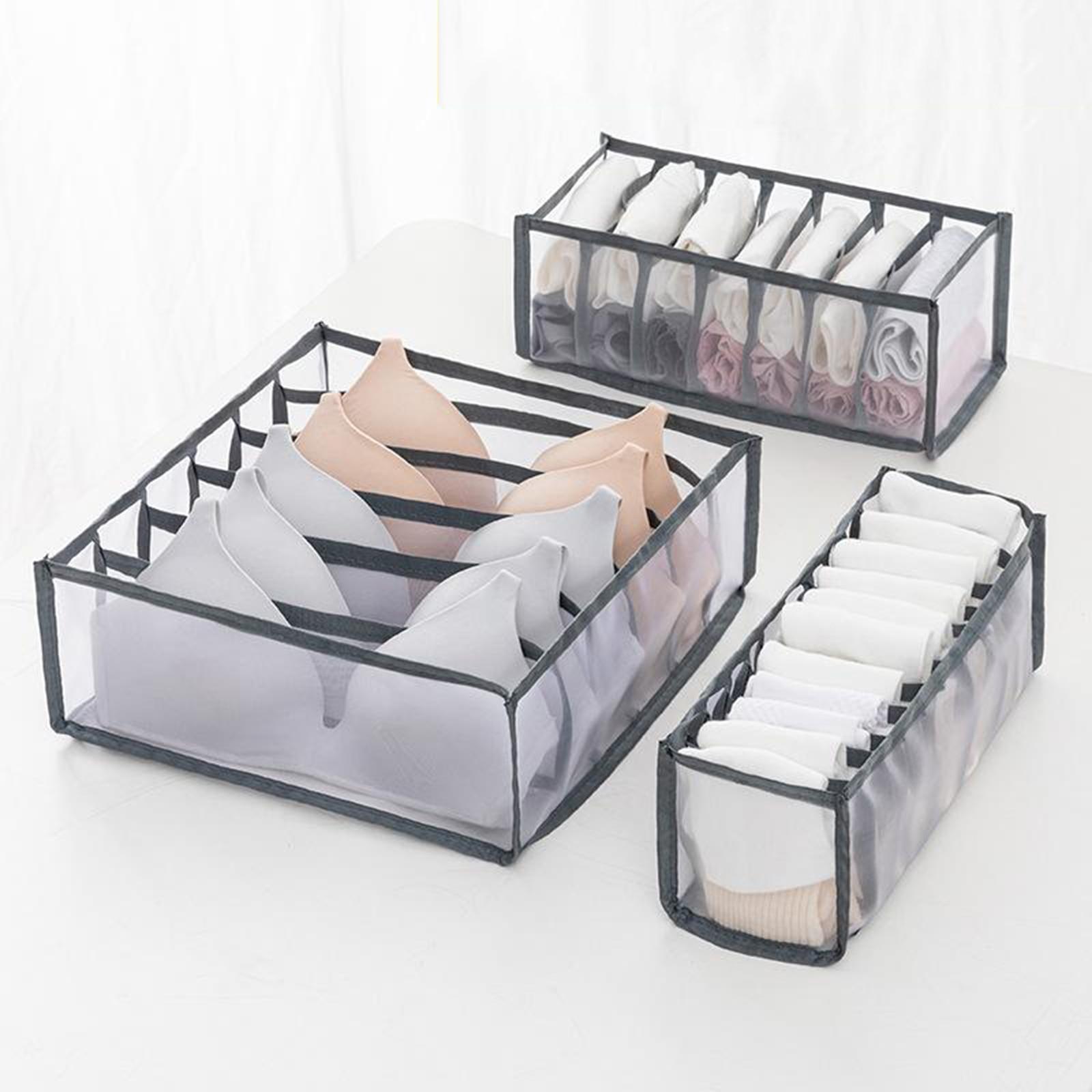 Organizador do armário para meias dormitório casa separada roupa interior caixa de armazenamento 6/7/11 grades sutiã organizador gaveta dobrável organizador