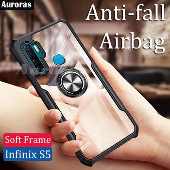 Перейти на Алиэкспресс и купить Auroras для Infinix S5 Lite чехол официальный оригинальный противоударный прозрачный с кольцом мягкая рамка чехол для infinix s5 Чехол с дюймвоздушной подушк...