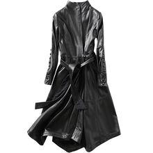 Женское винтажное пальто из натуральной кожи Черное длинное